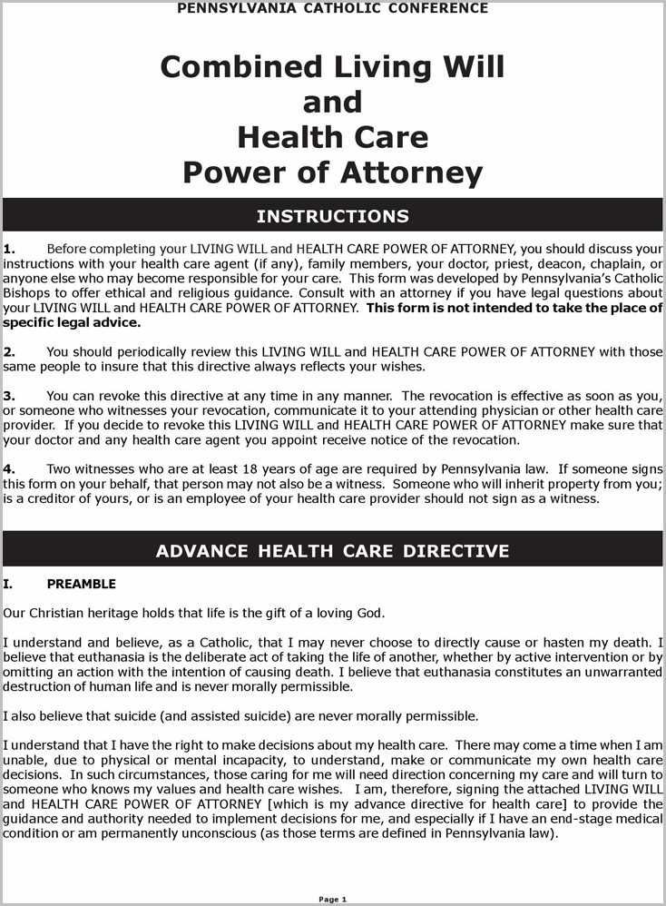 Health Care Power Of Attorney Form Pa