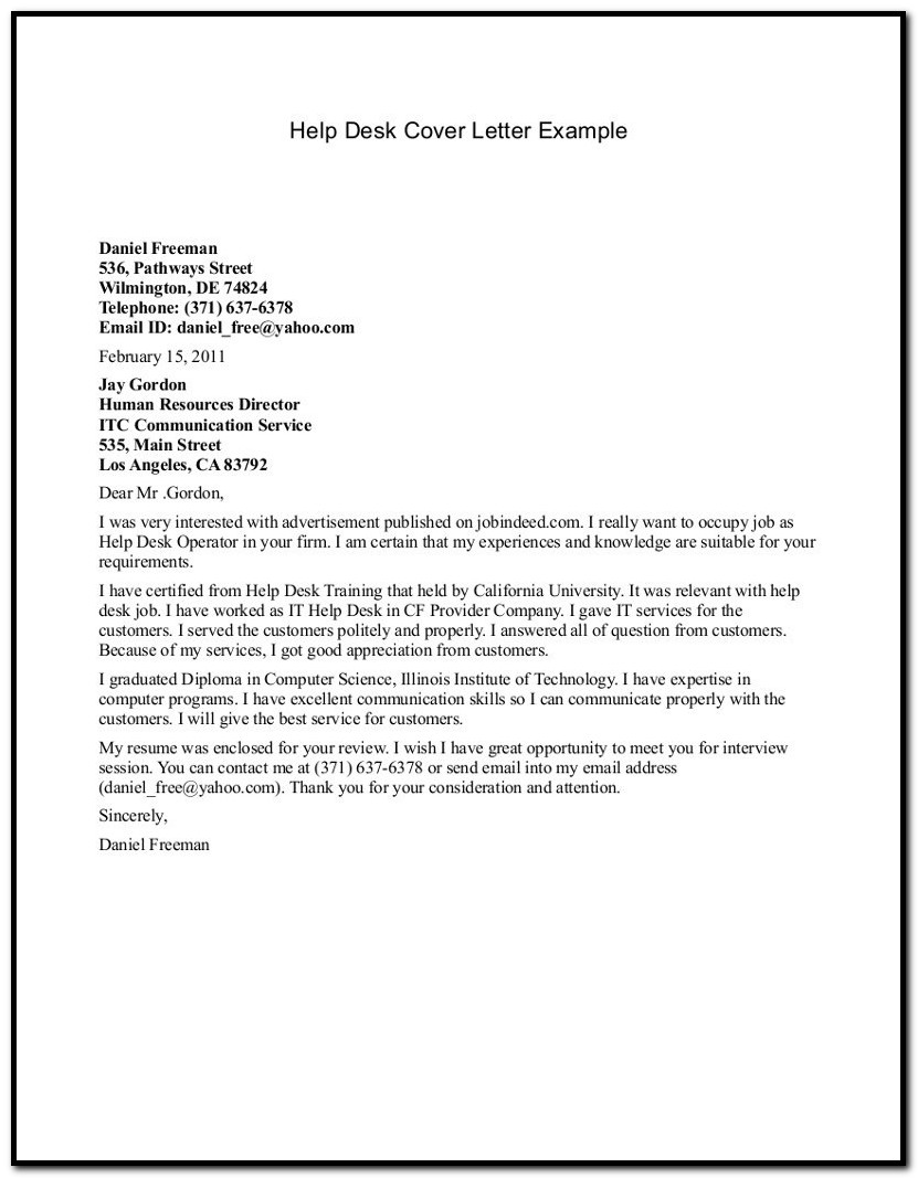 Help Desk Cover Letter Sample