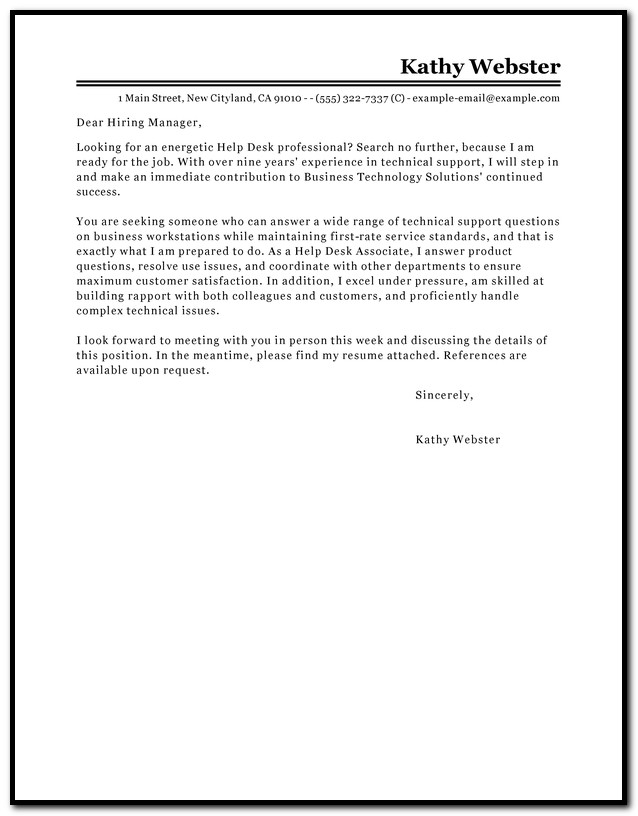 Help Desk Cover Letter Template