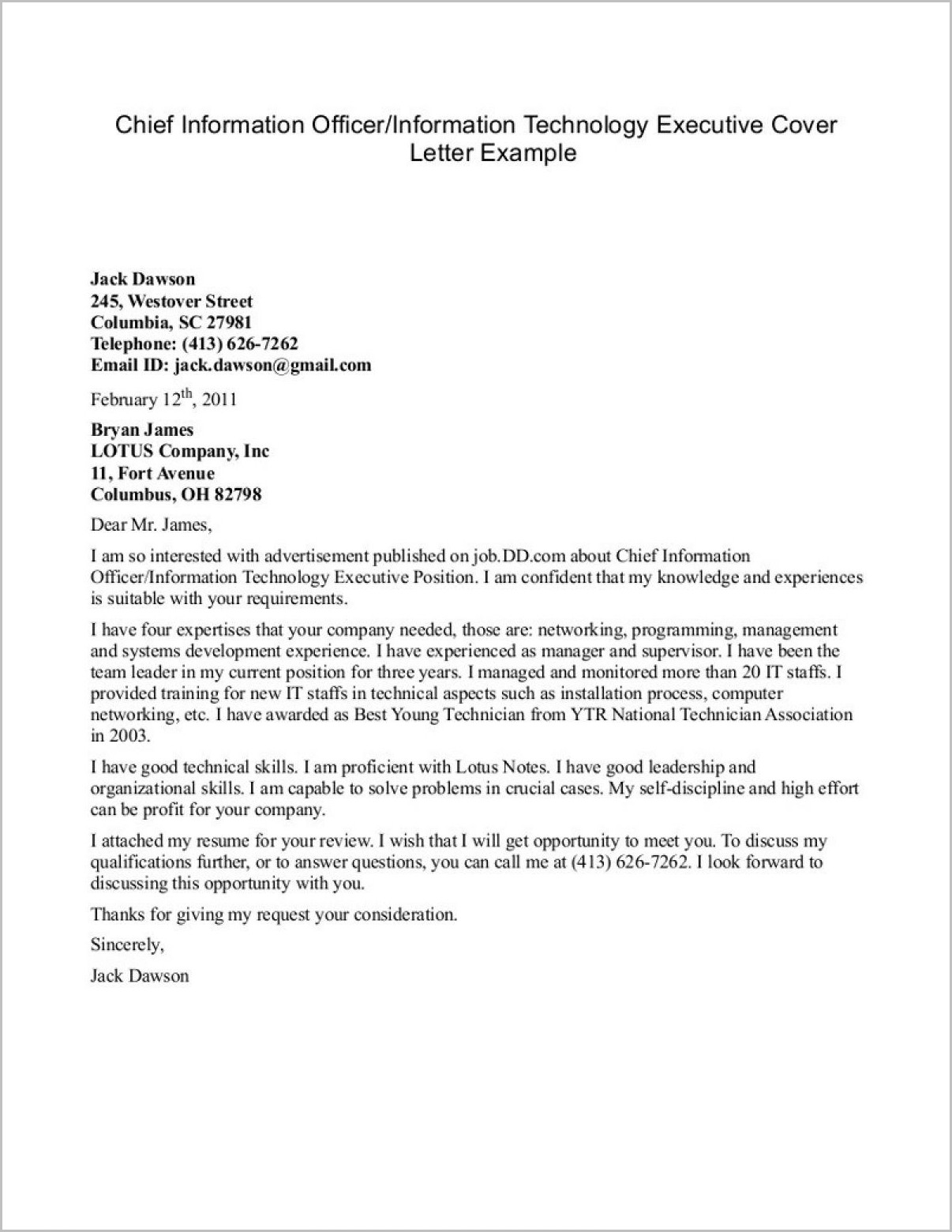 Information Technology Cover Letters For Resumes Examples