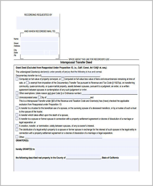 Interspousal Grant Deed Form