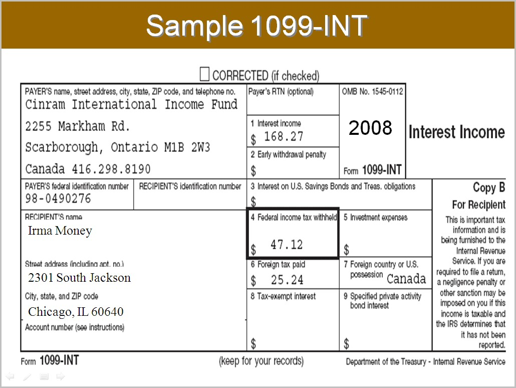 Irs Form Interest Income Form Resume Examples
