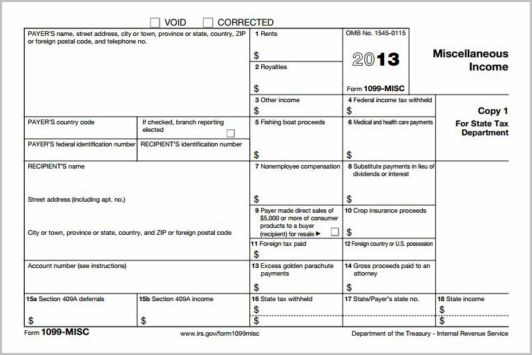 Irs 1099 Official Form