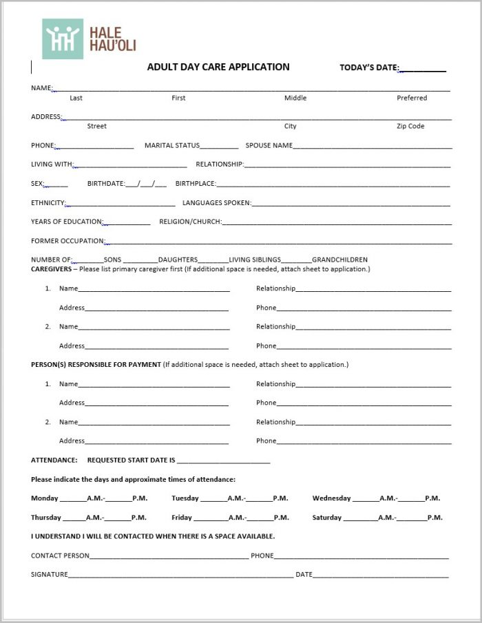 Job Application For Daycare Employee