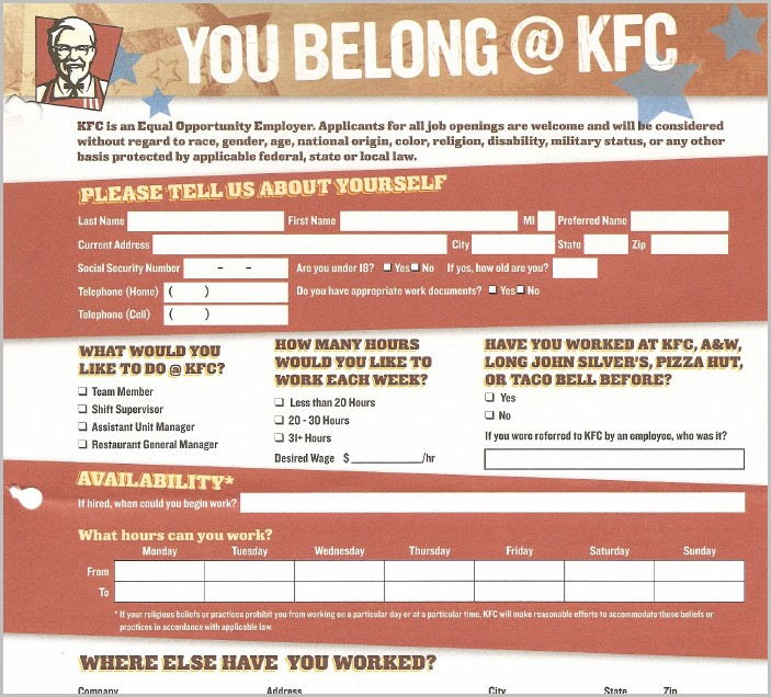 Job Application Form For Kfc