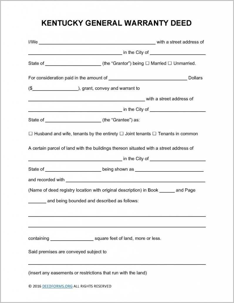 Kentucky Warranty Deed Form