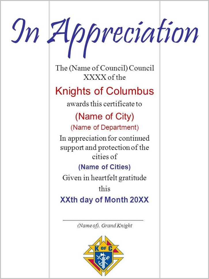 Knights Of Columbus Certificate Of Appreciation Template