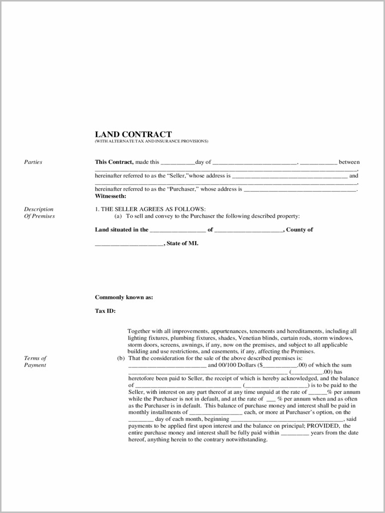 Land Contract Form In Michigan