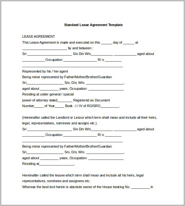 Lease Agreement Template In Word