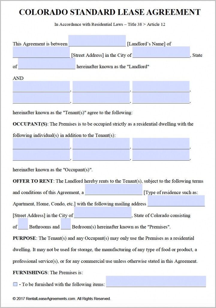 Lease Agreement Template Word Free