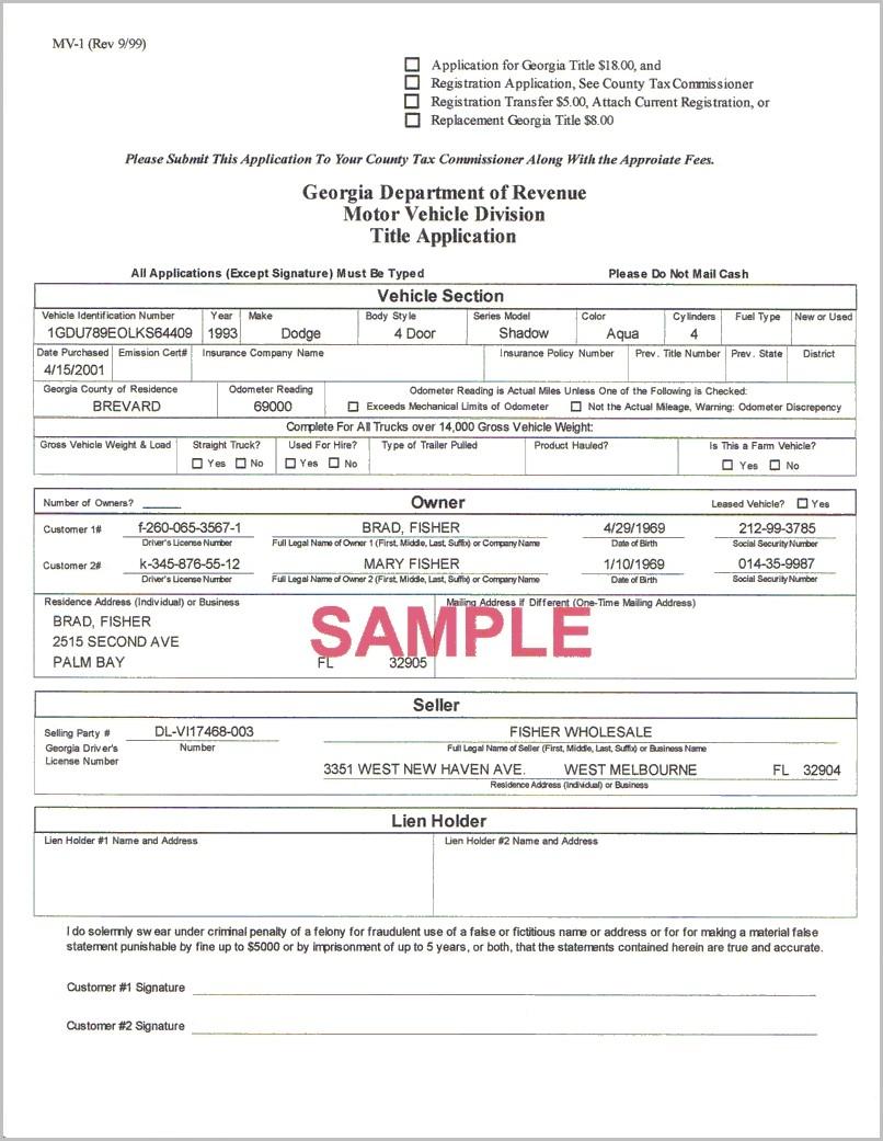 Lien Release Form Ga Dmv