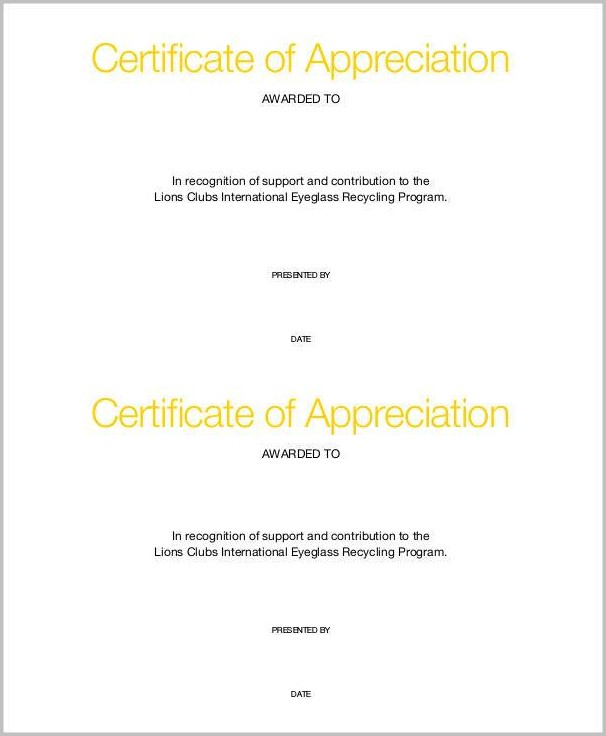 Lions Club Certificate Of Appreciation Template