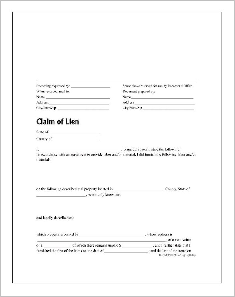 Mechanics Lien Form In Texas