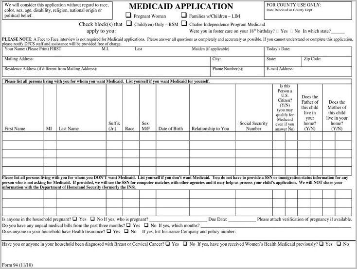 Medicaid Application Form For Pregnancy