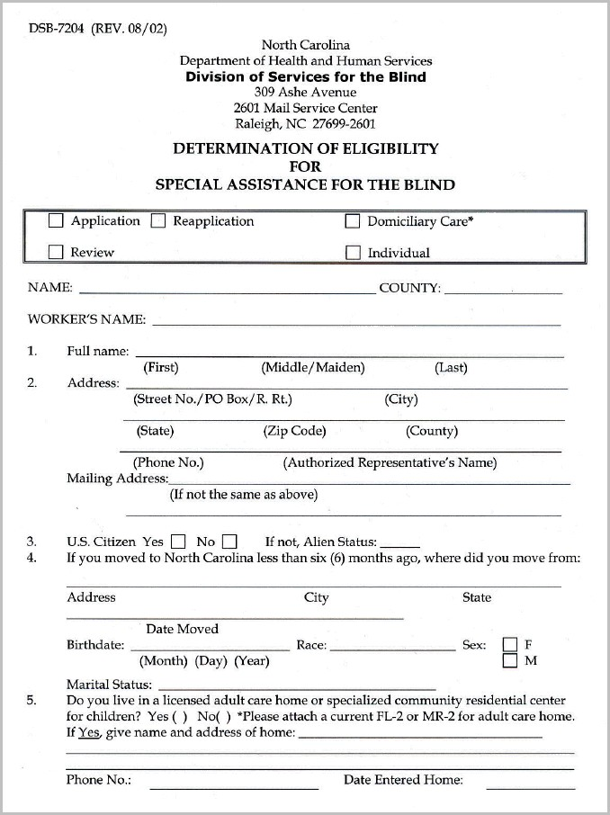 Medicaid Application Form North Carolina
