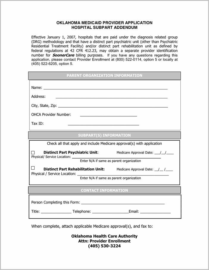 Medicaid Enrollment Form For Providers