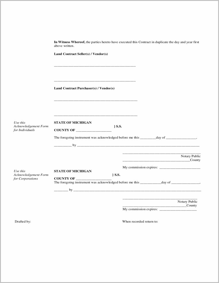 Michigan Land Contract Form
