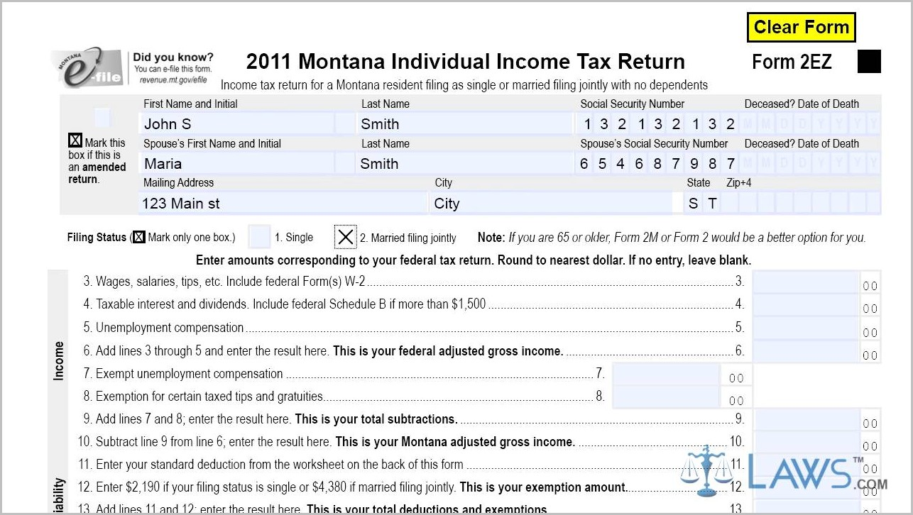 Montana 1040ez Tax Form