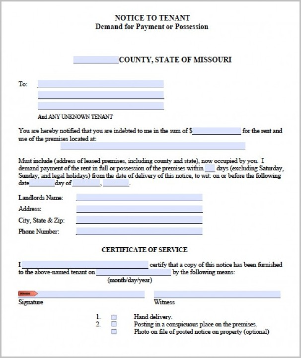 Notice Of Eviction Form Missouri