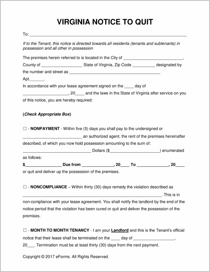 Notice Of Eviction Form Virginia