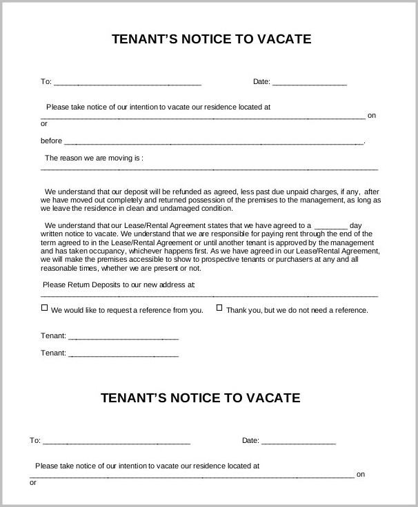 Notice Of Intention To Vacate Form Victoria