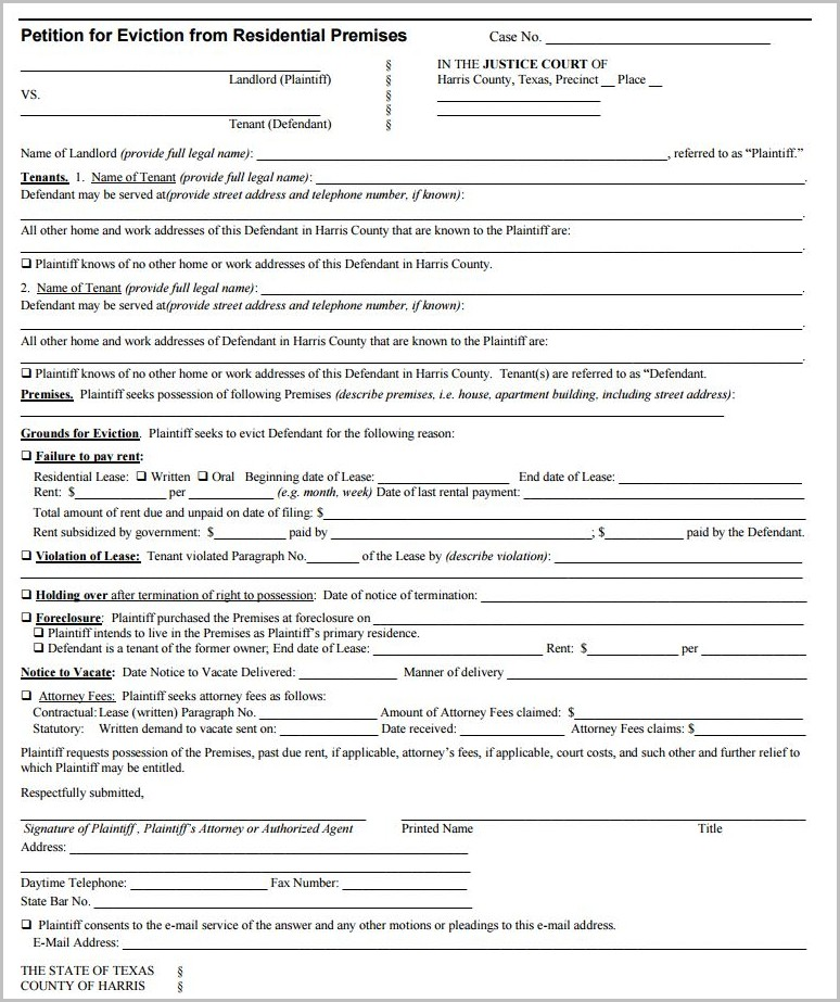 Notice To Vacate Form Harris County Texas