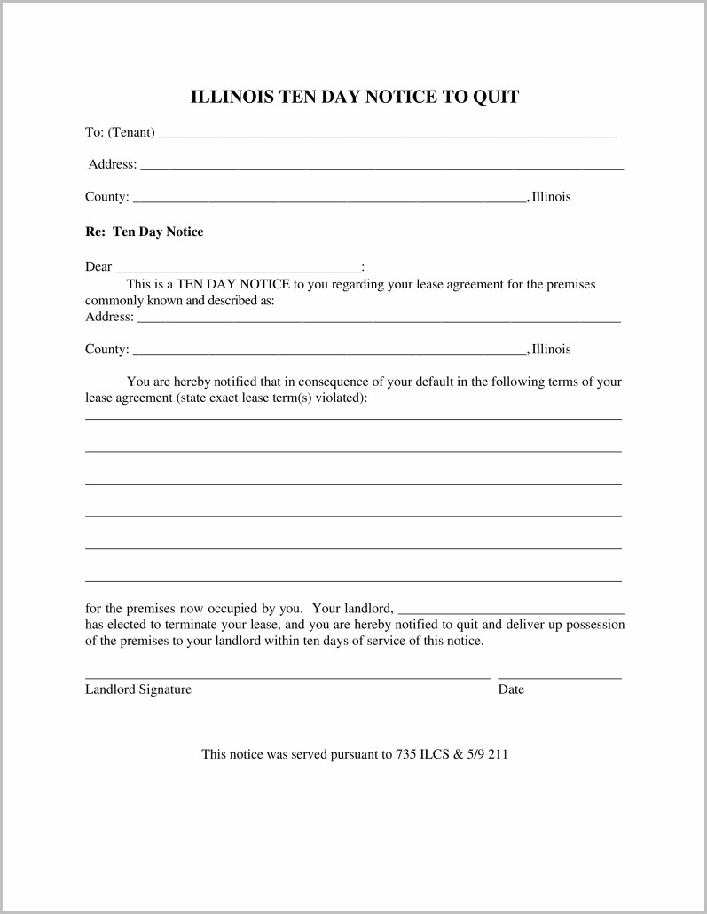 Notice To Vacate Form Illinois