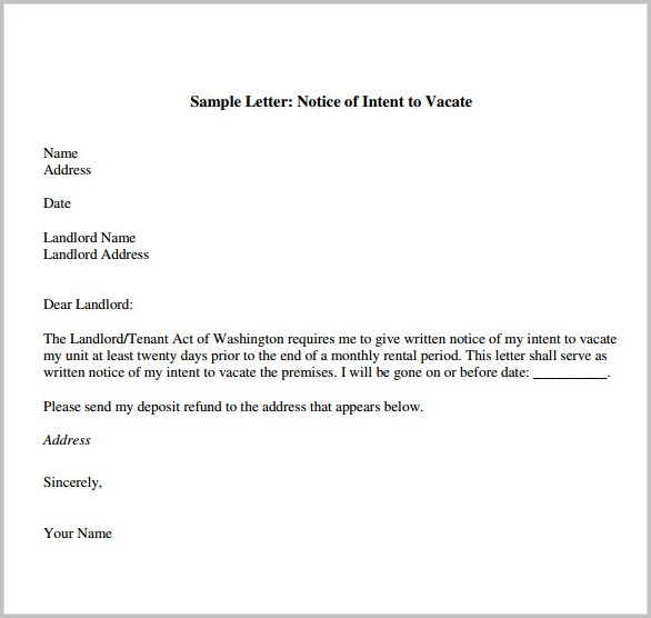 Notice To Vacate Form Letter