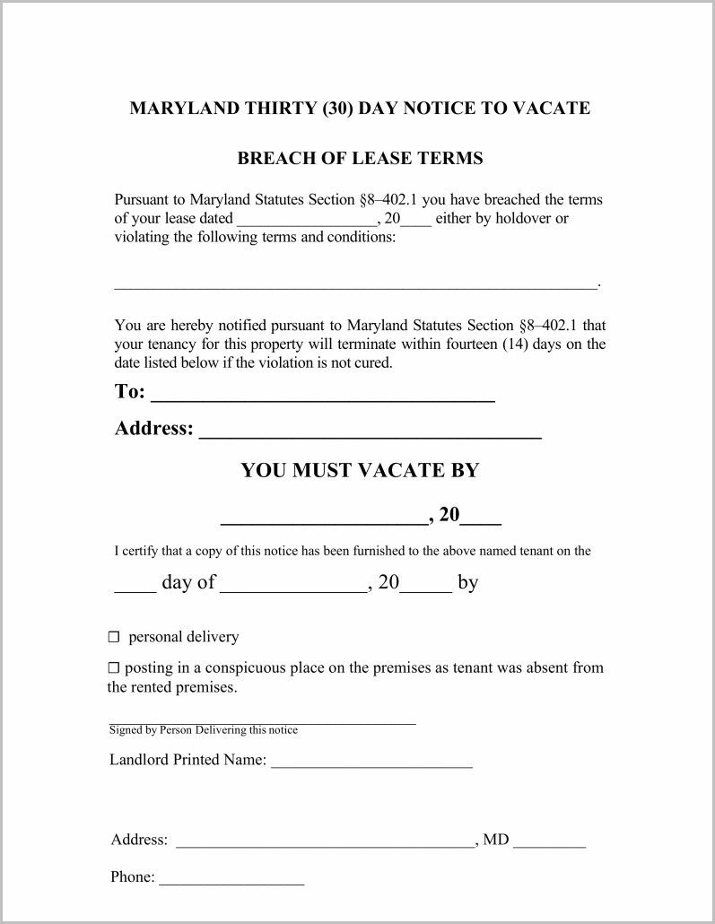 Notice To Vacate Form Maryland