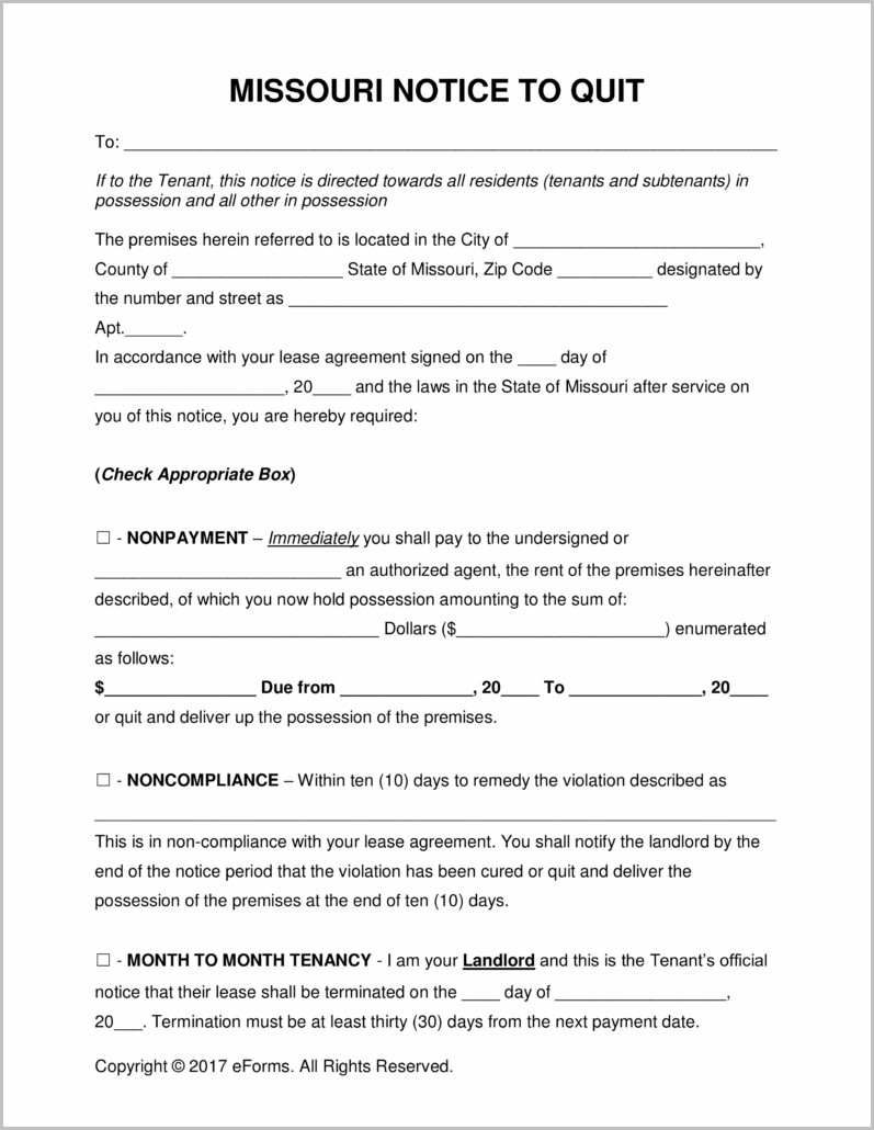 Notice To Vacate Form Missouri