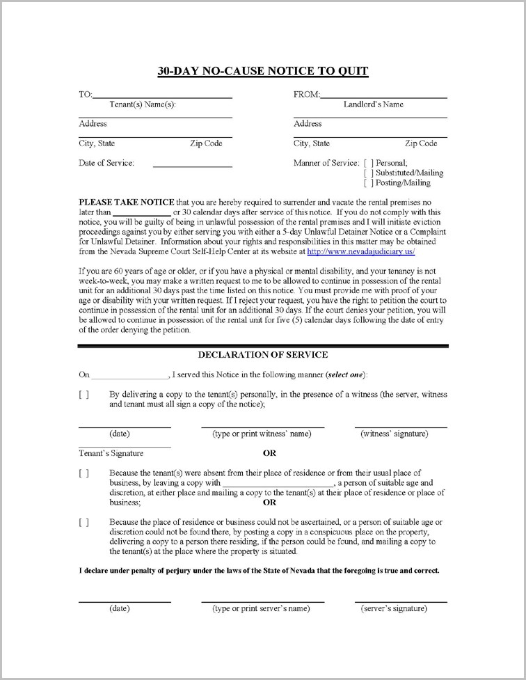 Notice To Vacate Form Nevada