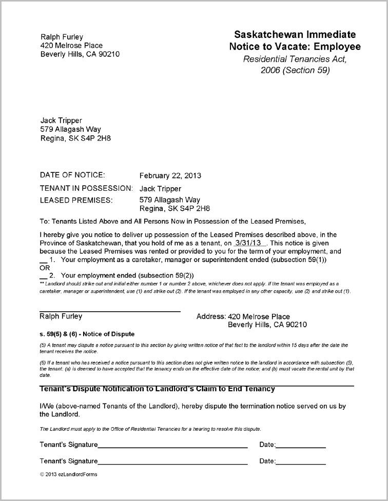 Notice To Vacate Form Saskatchewan