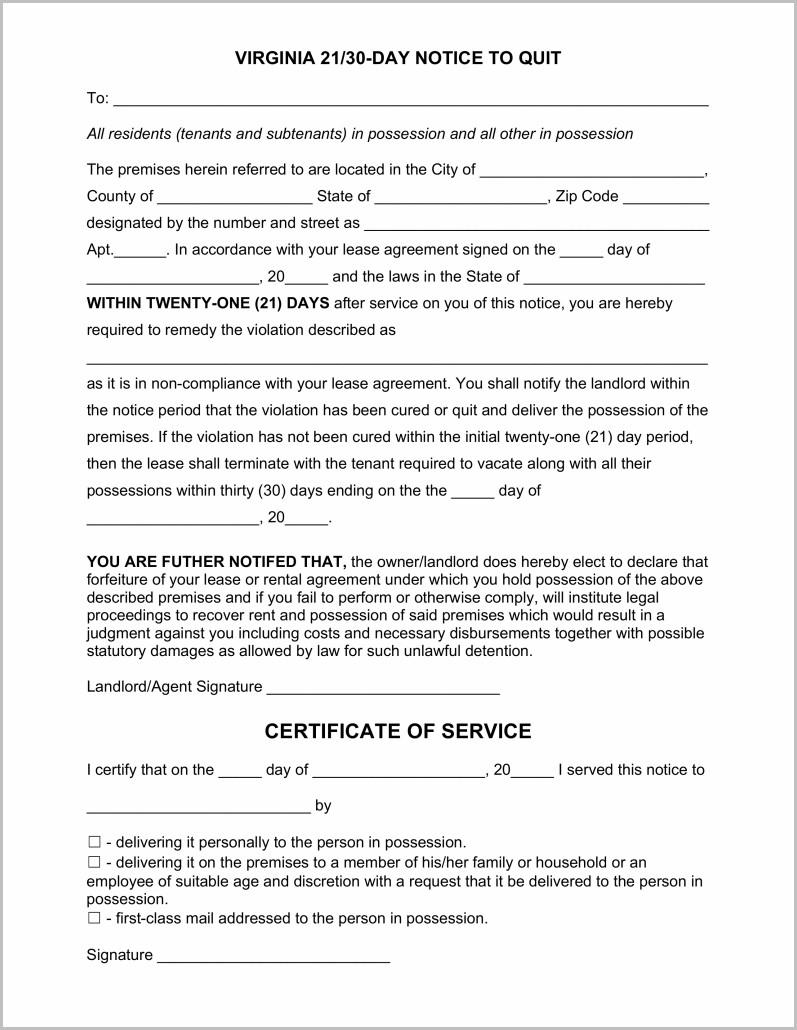 Notice To Vacate Form Virginia