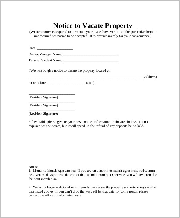 Notice To Vacate Rental Form