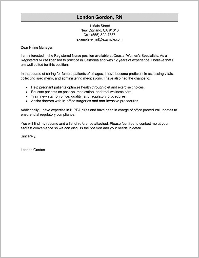 Nursing Cover Letter Template For Resume