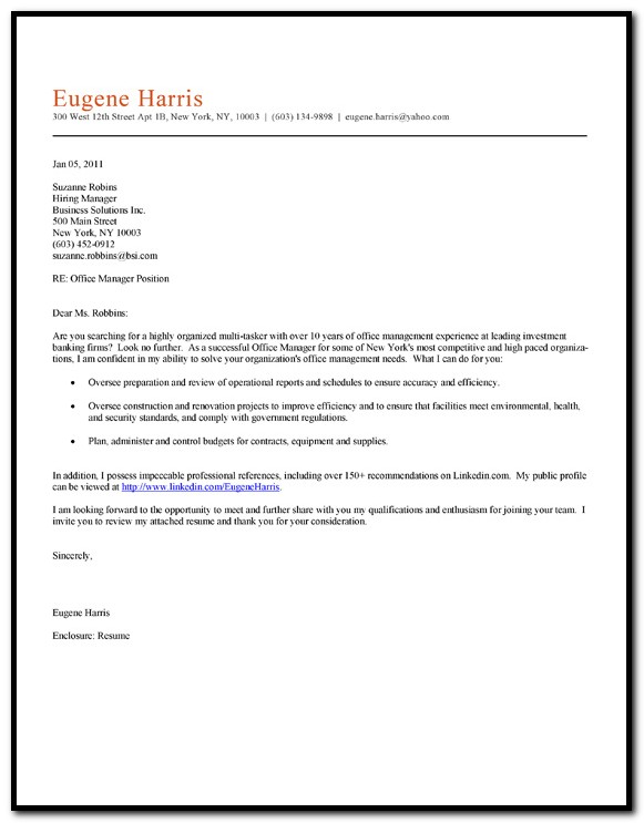 Office Help Cover Letter Sample