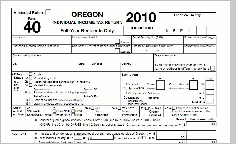 Oregon 1040ez Tax Form
