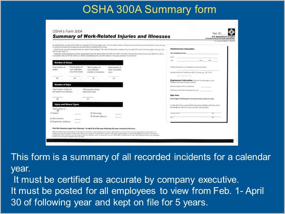 Osha 300a Forms Must Be Posted By February 1