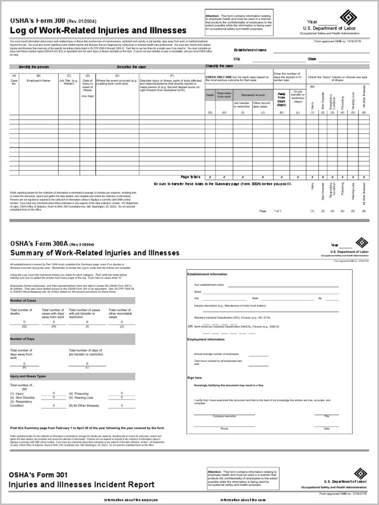 Osha Form 300a Us Department Of Labor