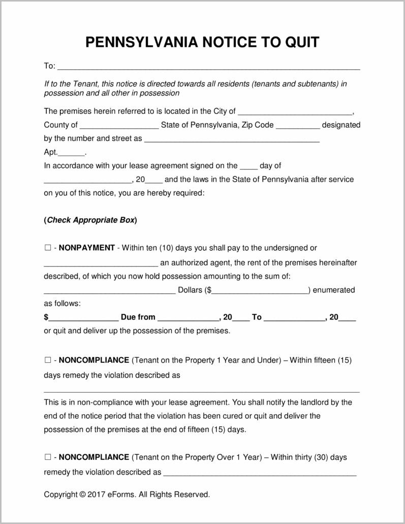 Pennsylvania Notice Of Eviction Form