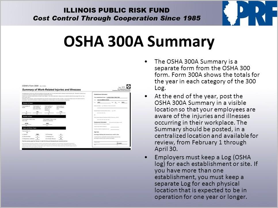 Posting Of Osha Form 300a