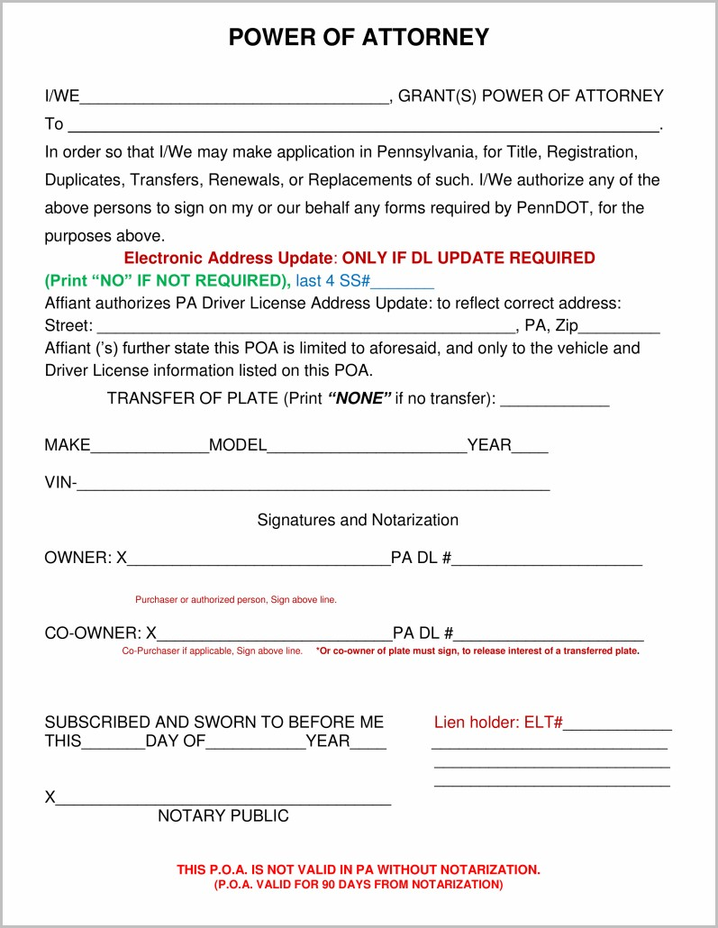 Power Of Attorney Form Pa Vehicle