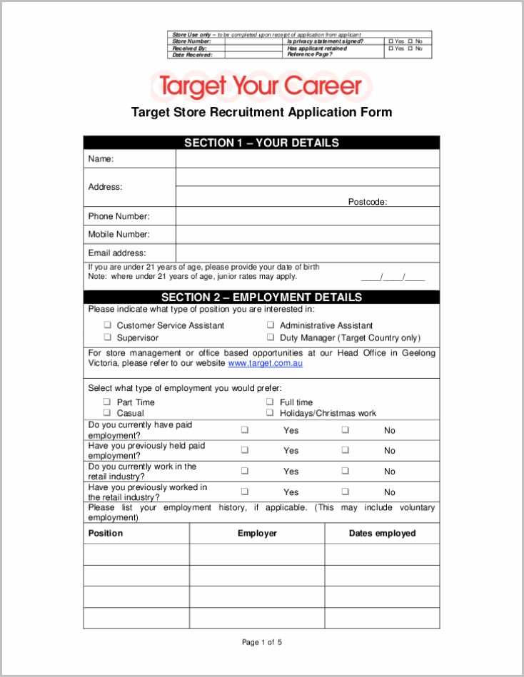 Printable Job Application Form For Target