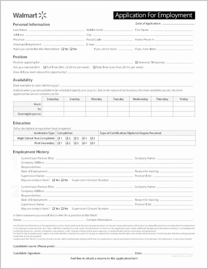 Printable Job Application Form For Walmart