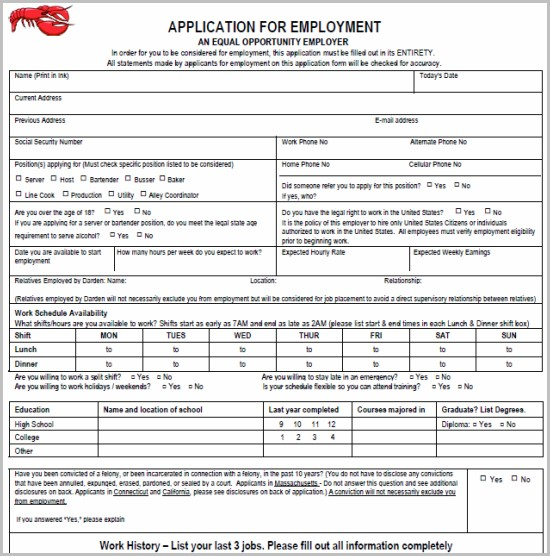 Printable Job Application Form Kfc