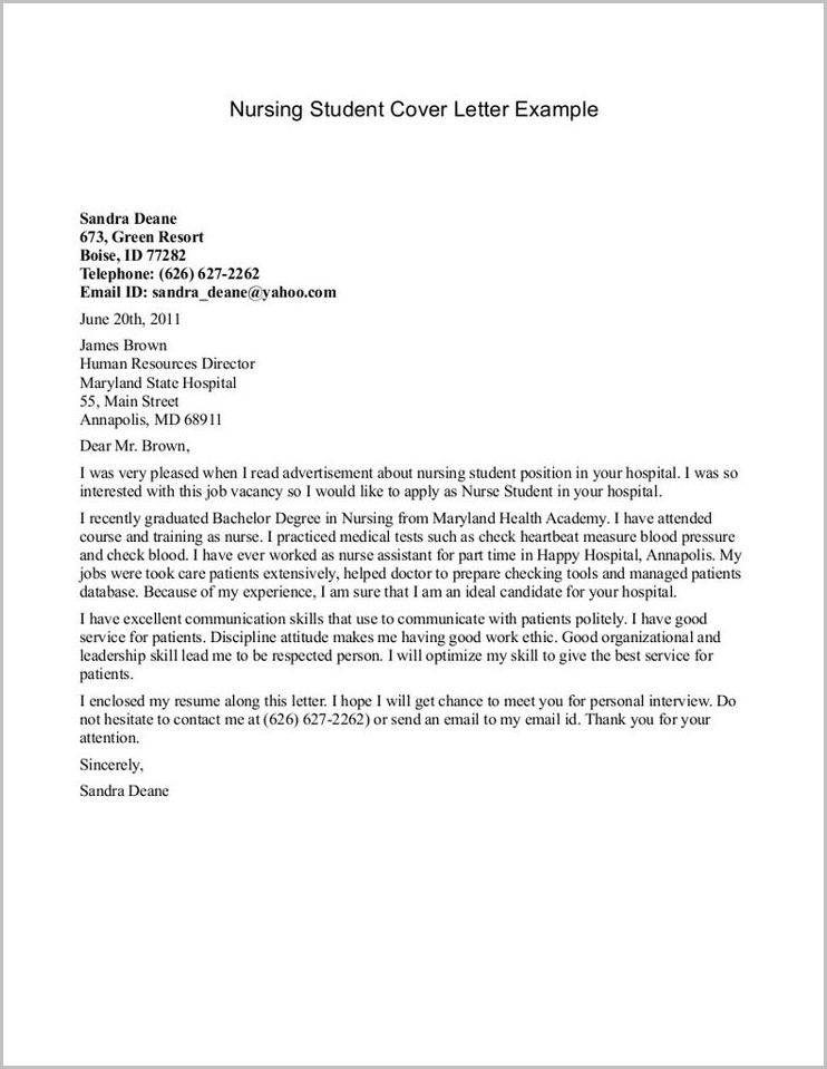 Resume Cover Letter Examples Nursing Student