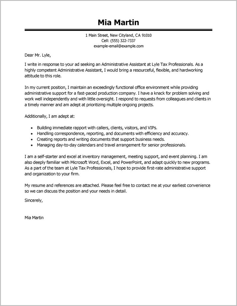 Resume Cover Letter Samples For Administrative Assistant Job
