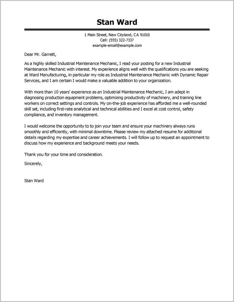 Resume Cover Letter Samples For Maintenance