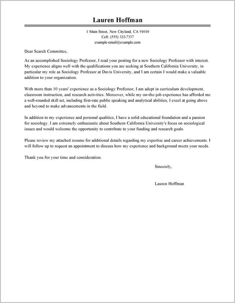 Resume Cover Letter Samples For Professors