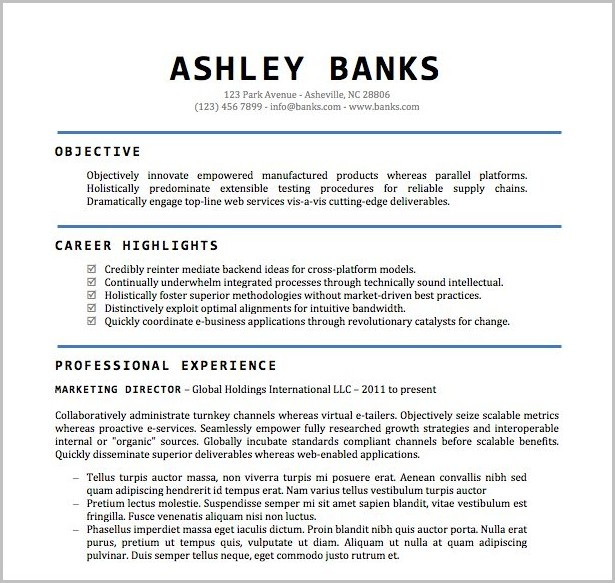 Resume Template Word Doc Free